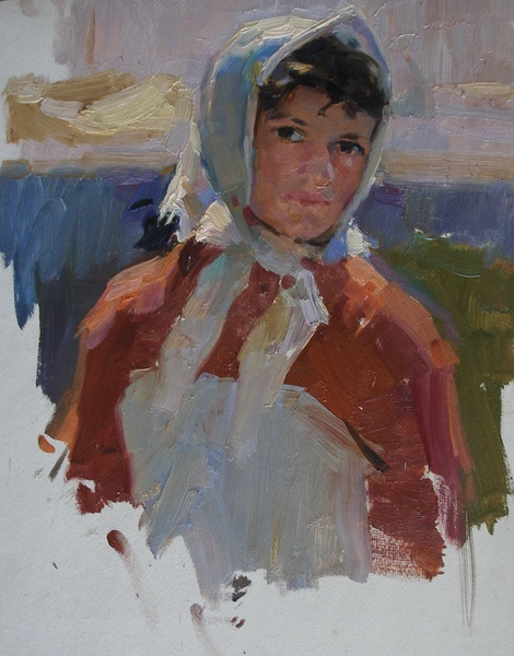 SOLD  Woman with white scarf