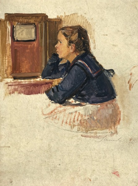 SOLD Young girl in front of the radio