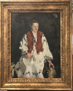 SOLD Portrait of gracious woman in a traditional dress (Oil on canvas on board)